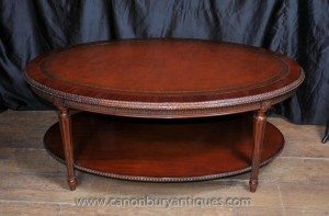 Regency Oval Coffee Table Acajou Cuir Meilleures Tables