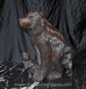 Sculpté à la main allemande Forest Bear Cub Statue Noir et ours bruns
