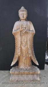 Sculpté à la main birmans Statue de Bouddha Lotus Flower Base de l'art bouddhiste Bouddhisme