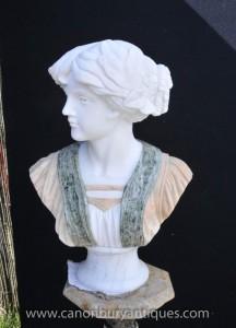 Sculpté à la main buste en marbre victorienne Préraphaélisme Lady