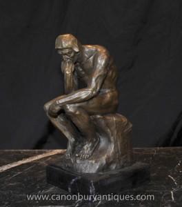 Statue en bronze Rodins Le Penseur Auguste Rodin Sculpture Art Français