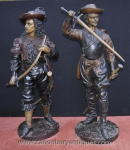 Statues paire Anglais Bronze Cavalier soldats Charles I