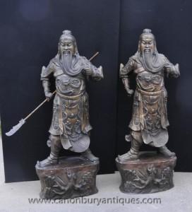Superbe paire de bronze guerriers samouraïs japonais