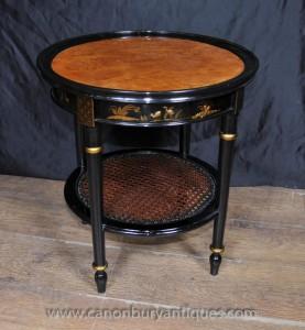 Tables français laque noire Low Side Table Chinoiserie