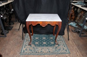 Victorienne Acajou Table console en marbre Top