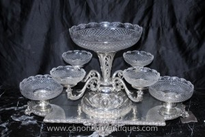 Victorienne Sheffield Silver Plate Centrepiece épergne Cut Glass Dish affichage