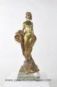 Antique Bronze Femme nue Statue Figurine signé un Seyssie Circa 1900