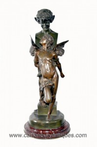 Antique Bronze Seduction Male Statue Signed Samzel Circa 1890