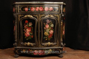 Antique français Lacquer Commode Cabinet Buffet Circa 1880