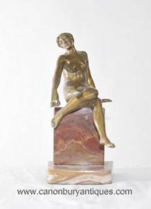 Art Déco Femme nue Figurine Marbre Base de Nu Statue Onyx