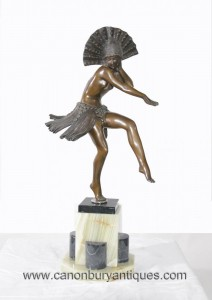Art Deco Bronze égyptienne Dancer Statue Figurine Colinet