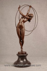 Art Deco Bronze Hoop Dancer Statue Figurine 1920 Flapper