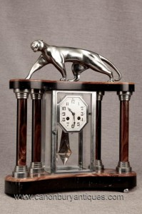 Art Deco marbre Chrome Pendule Argent Patina Panther