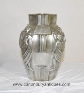 Art déco français Argent Bronze Urne Vase Lady Figurine