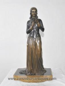 Art déco français Bronze lecture Statue Fille Signé Menneville