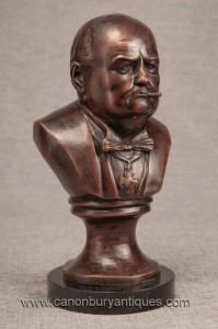 Buste en bronze ministre britannique Winston Churchill Statue Héros de guerre