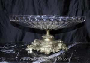 Empire français Crystal Glass Bowl sur le Stand Soupière Dish