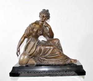 Français Bronze Femme mandoline Statue Figurine Harpe Moreau