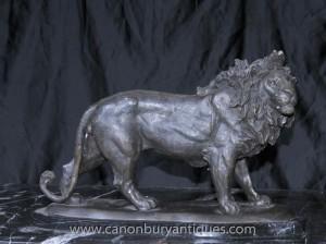 Français Lion de Bronze Statue casting Cats Lions Sculptures animaux