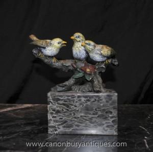 Froide peint Trio Bronze Birds viennoise Bergmann