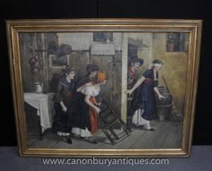 Grand Peinture à l'huile espagnole Bandez les yeux Portrait rustique Scène Art