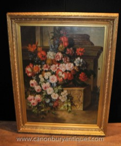 Grand victorienne anglaise Art Floral Still Life Oil Painting