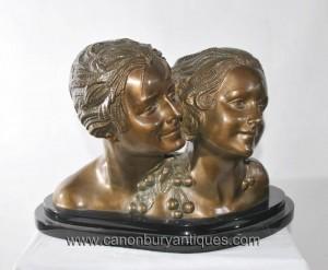 Paire Art Deco Bronze Chiparus Bustes Féminins Statue Head