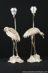 Paire Art Nouveau français Argent Plate Heron oiseaux lampes de table Lumières