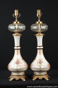 Paire Art Nouveau français Porcelaine Verre Cristal lampes de table Lumières