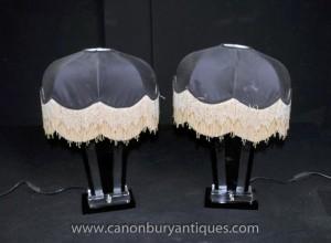 Paire Art déco de table en verre Lampes Shades