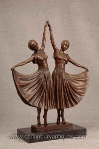 Paire Art déco jumelles Dancer figurines de bronze par Chiparus