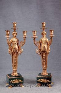 Paire Empire français Ormolu marbre Candélabres Bougie Sticks