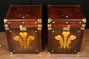 Paire Vintage cuir malle Bagages Boîtes Tableaux