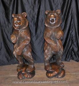 Paire allemande Forêt Noire main Sculpté Brown Bears Ours Statue