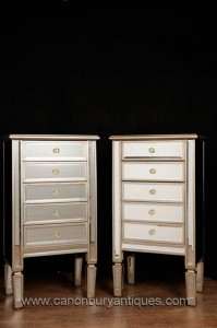 Paire miroir Commodes Art Déco Meubles de chevet Tall Boy
