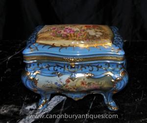 Porcelaine de Sèvres Floral Spalsh Trinket Casket Boîte à bijoux