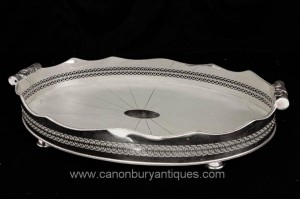Victorienne Silver Plate Butlers Tray Galuchat Platter Silverplate