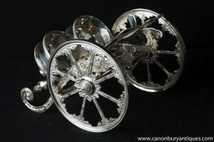 Victorienne Silver Plate Double panier de vin verseur Chariot