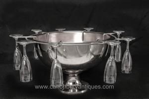 Anglais Sheffield Silver Plate verre de Champagne Seau Set Punch Bowl