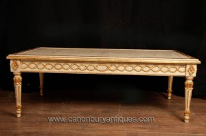 Antique Empire français Painted Table basse Gilt