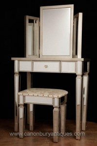 Art déco miroir Coiffeuse Tabouret Set Bedroom Furniture