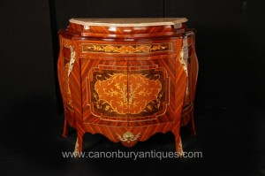 Empire français Bombe Cabinet Chest Commode Marqueterie Inlay