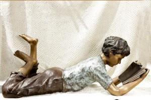 Lifesize Bronze lecture Boy Statue Jardin Art Figurine