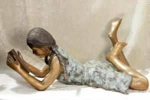 Lifesize Bronze lecture Statue Fille Jardin Art Figurine