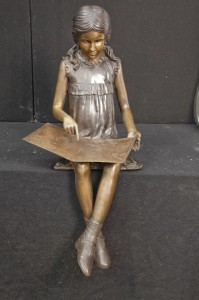 Lifesize Bronze lecture Statue Fille casting Jardin Art