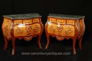 Pair de l'Empire français Marqueterie Inlay Bombe Commodes Commodes Tiroirs