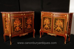 Paire Empire Armoires Commodes Commodes sur Stands Inlay