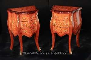 Paire Louis XVI Bombe Commodes Tiroirs Commodes Chevets