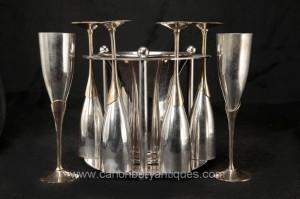 Sheffield Argent Plate verre de champagne seau à glace Set Flûtes Boissons