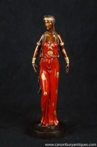 Art Nouveau Bronze Femme Statue Figurine